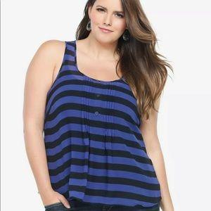 Torrid blue and black striped chiffon tank size 2